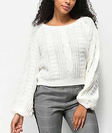 Almost Famous suéter corto de punto blanco