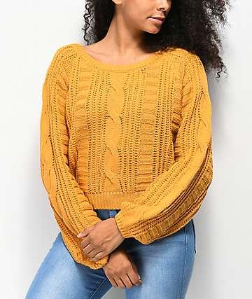Almost Famous suéter corto de punto dorado