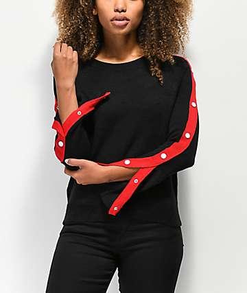 Almost Famous suéter negro con botones a presión