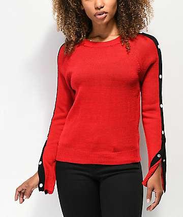 Almost Famous suéter rojo con botones a presión