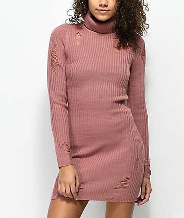 Almost Famous vestido estilo suéter con cuello vuelto en color malva