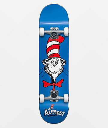 Almost x Dr. Seuss Cat Face Blue 7.875 Skateboard Complete