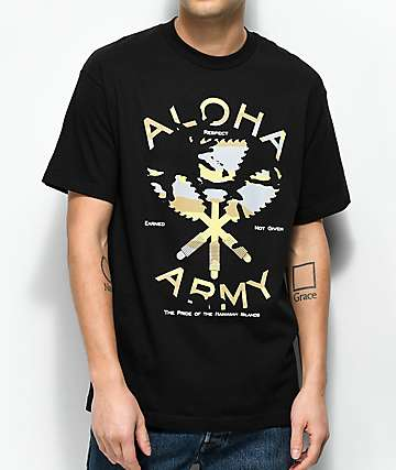 Aloha Army Heritage Camo Flow camiseta negra
