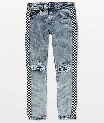 American Stitch Acid Wash Black & White Taping Blue Jeans