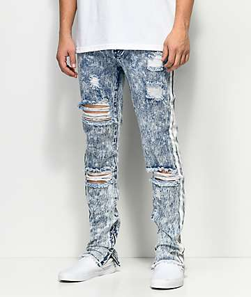 American Stitch Acid Wash Paint Stripe Light Blue Jeans