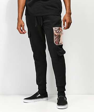 American Stitch Black & Rose Gold Cargo Sweatpants