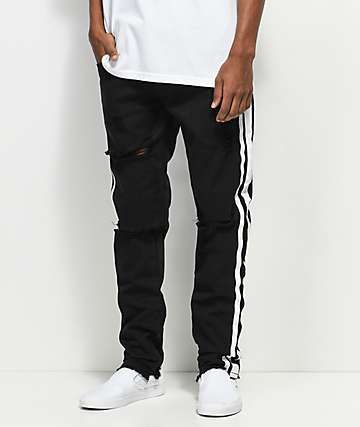 American Stitch Black & White Side Destroyed Jeans