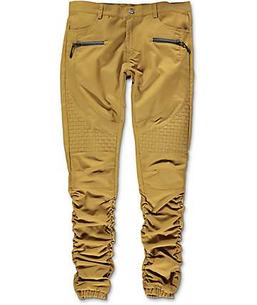 American Stitch Brown Khaki Basket Woven Twill Bungee Jogger Pants