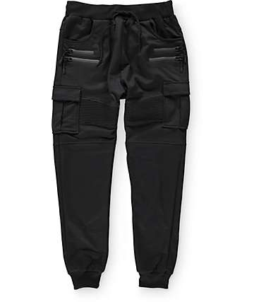 American Stitch Cargo Terry Zip Black Jogger Pants