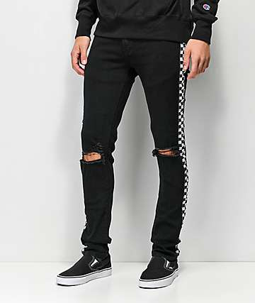 American Stitch Checkered Taped Black Jeans