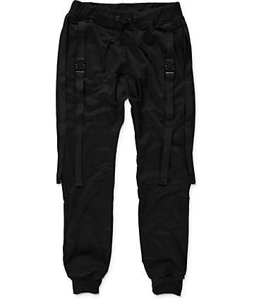 American Stitch Double Strap Black Jogger Pants