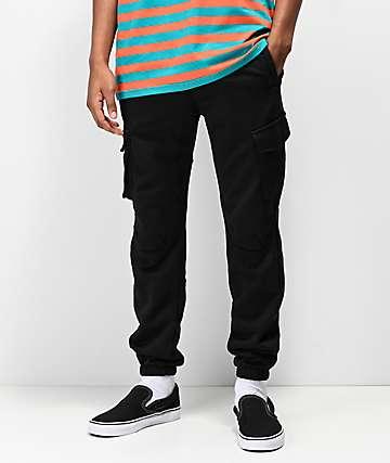 American Stitch Fleece Black Cargo Pants