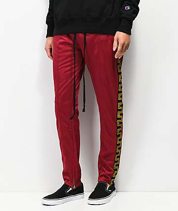 American Stitch Greco Taping Burgundy Track Pants