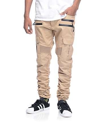 American Stitch Khaki Cargo Moto Twill Bungee Jogger Pants
