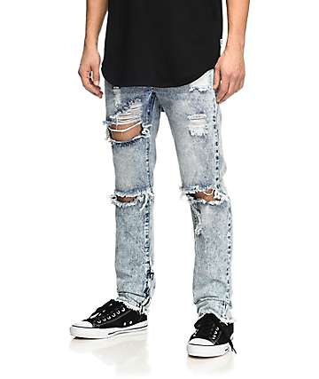 American Stitch Light Acid Wash Ripped Moto Jeans