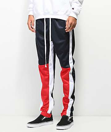 American Stitch Red, White & Black Color Block Track Pants