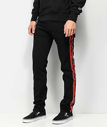American Stitch Red Paint Striped Black Jeans
