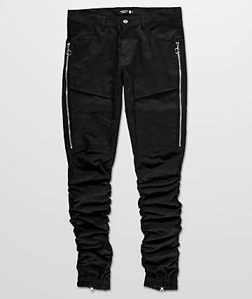 American Stitch Side Zip Bungee Leg Twill Cargo Black Pants