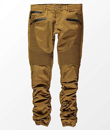 American Stitch Three Zip Brown Moto Twill Bungee Jogger Pants