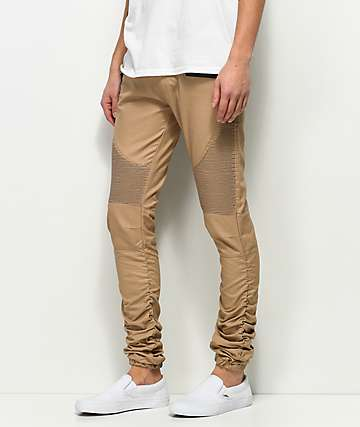 American Stitch Three Zip Khaki Moto Twill Bungee Jogger Pants