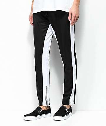 American Stitch Tricot pantalones de chándal en negro y blanco