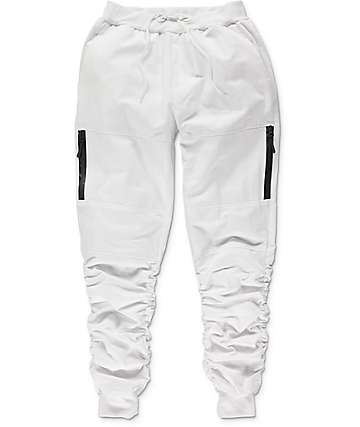 American Stitch Twill Bungee Zip White Jogger Pants