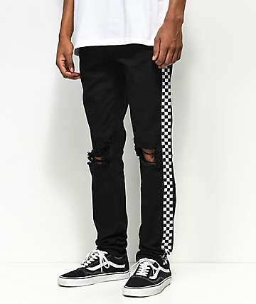 American Stitch White Taping jeans negros