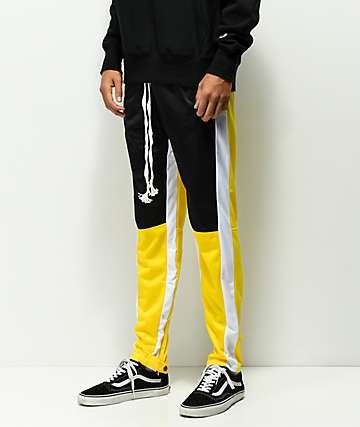 American Stitch Yellow & Black Color Block Track Pants