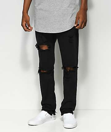 American Stitch jeans de mezclilla negra con rodillas rotas