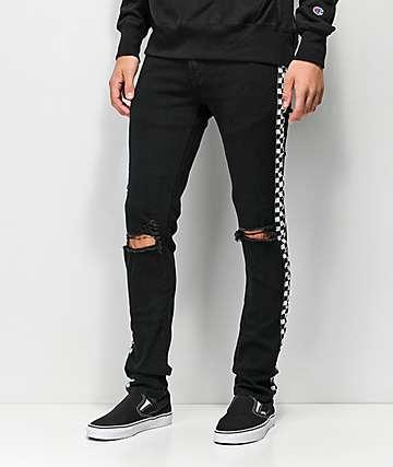 American Stitch jeans negros con cinta de cuadros
