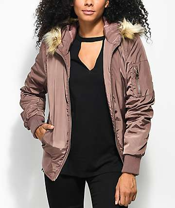 Angel Kiss Dusty Rose Fur Hood Bomber Jacket