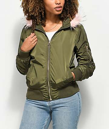 Angel Kiss Nika Olive Fur Hooded Bomber Jacket