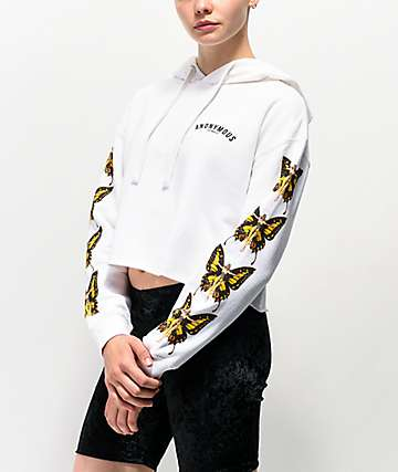 Anonymous Butterfly White Crop Hoodie