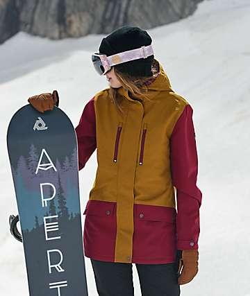 Aperture Jibber chaqueta de snowboard marrón y rojo