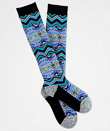 Aperture Maya Heather Grey & Lavender Snowboard Socks