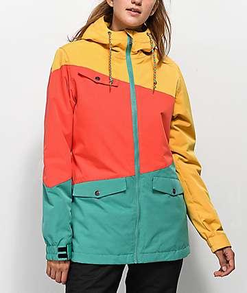 Aperture Outerlimits chaqueta de snowboard verde, amarilla y roja