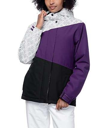 Aperture Pan Face chaqueta de snowboard 10K en blanco, morado y negro