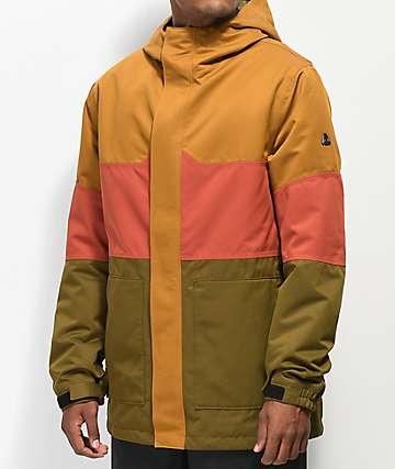 Aperture Peak 10K chaqueta de snowboard caqui, roja y verde