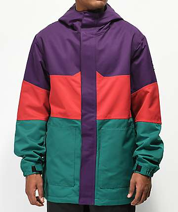 Aperture Peak Color Block Purple, Red & Green 10K Snowboard Jacket
