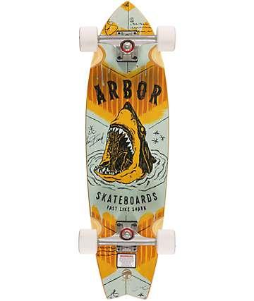 "Arbor GB Sizzler Sharks 31.75""  Cruiser Complete Skateboard"