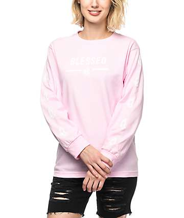 Artist Collective Blessed Light Pink Long Sleeve T-Shirt