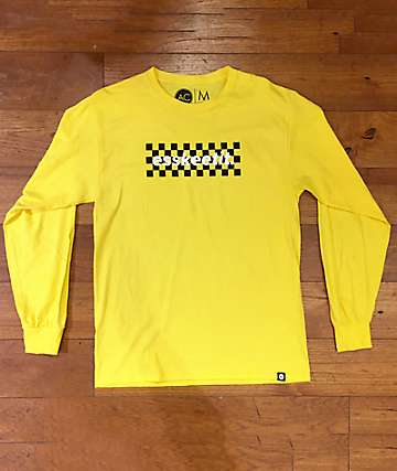 Artist Collective Eskeetit Yellow, White & Black Checkered Long Sleeve T-Shirt