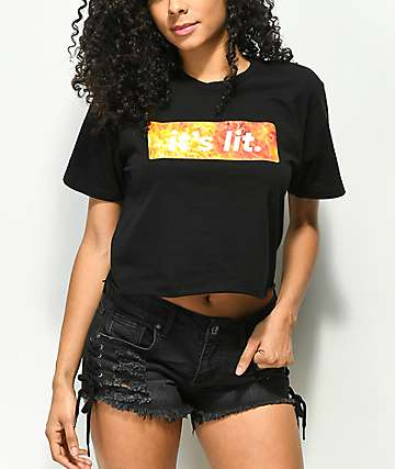 Artist Collective It's Lit Flame Black Crop T-Shirt