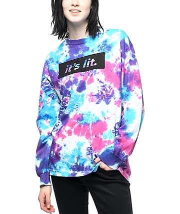 Artist Collective Its Lit camiseta de manga larga con efecto tie dye