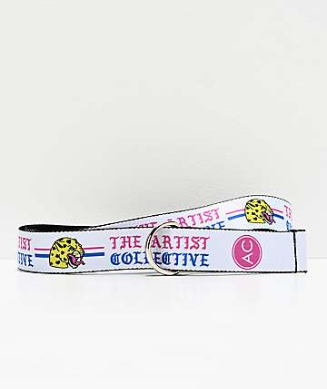Artist Collective Leopard White Web Belt
