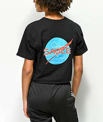 Artist Collective Lost In The Sauce Black Crop T-Shirt