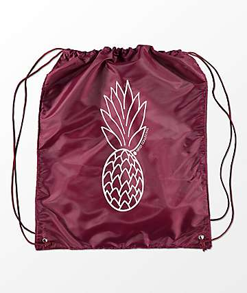 Artist Collective Pineapple Maroon & White Cinch Bag