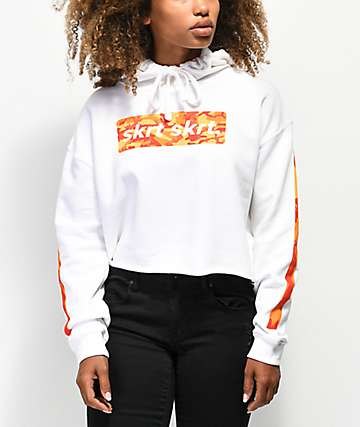 Artist Collective Skrt Skrt Camo Fill White Crop Hoodie