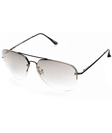 Aviator Black Rimless Gold Mirror Sunglasses