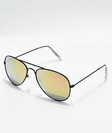 Aviator Shiny Black & Gold Mirror Sunglasses